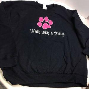 Pink black Women's Sweatshirt Dog Paw